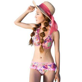 n2o ชุดว่ายน้ำทูพีชพรีเมี่ยมเซ็ท ลายดอกไม้ พร้อมชุดคลุมยาว SW81