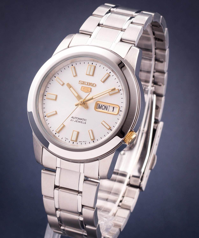 ยี่ห้อนี้ดีไหม  ลำปาง SEIKO 5 Automatic รุ่น SNKK09K1 นาฬิกาข้อมือผู้ชายสายแสตนเลสสีเงิน เข็มทองสวยหรู โดดเด่น - มั่นใจ ของแท้ 100% ประกันศูนย์ Seiko 1 ปีเต็ม (ส่งฟรีเคอรี่)