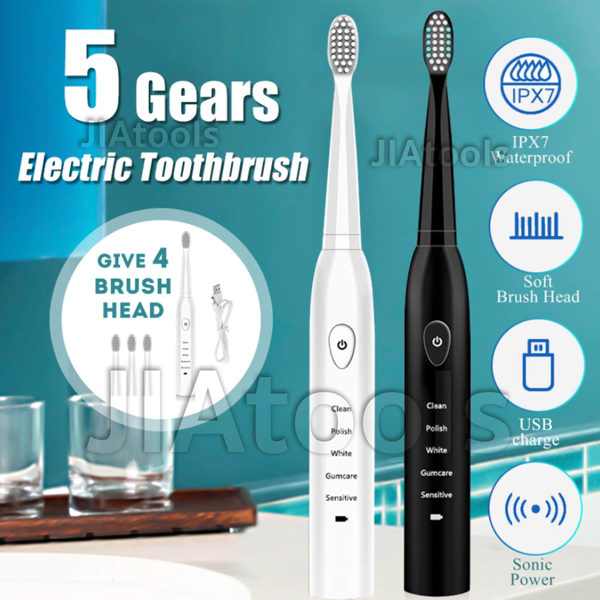 แปรงสีฟันไฟฟ้าเพื่อรอยยิ้มขาวสดใส นราธิวาส ETB5 แปรงสีฟันไฟฟ้า 5 เกียร์ ฟรี 4 หัวแปลง ขนแปรงนุ่ม ยืดหยุ่น กันน้ำได้ 100   พกพาสะดวก วัสดุ ฟู้ดเกรด ปลอดภัย ชาร์จได้ทุกที่มี USB น้ำหนักเบา ดีไซน์ทันสมัย เสียงเงียบ 5 Gears Electric Toothbrush Food Grade แปรง รอยลึก ทำความสะอาดคราบฟัน ครบ