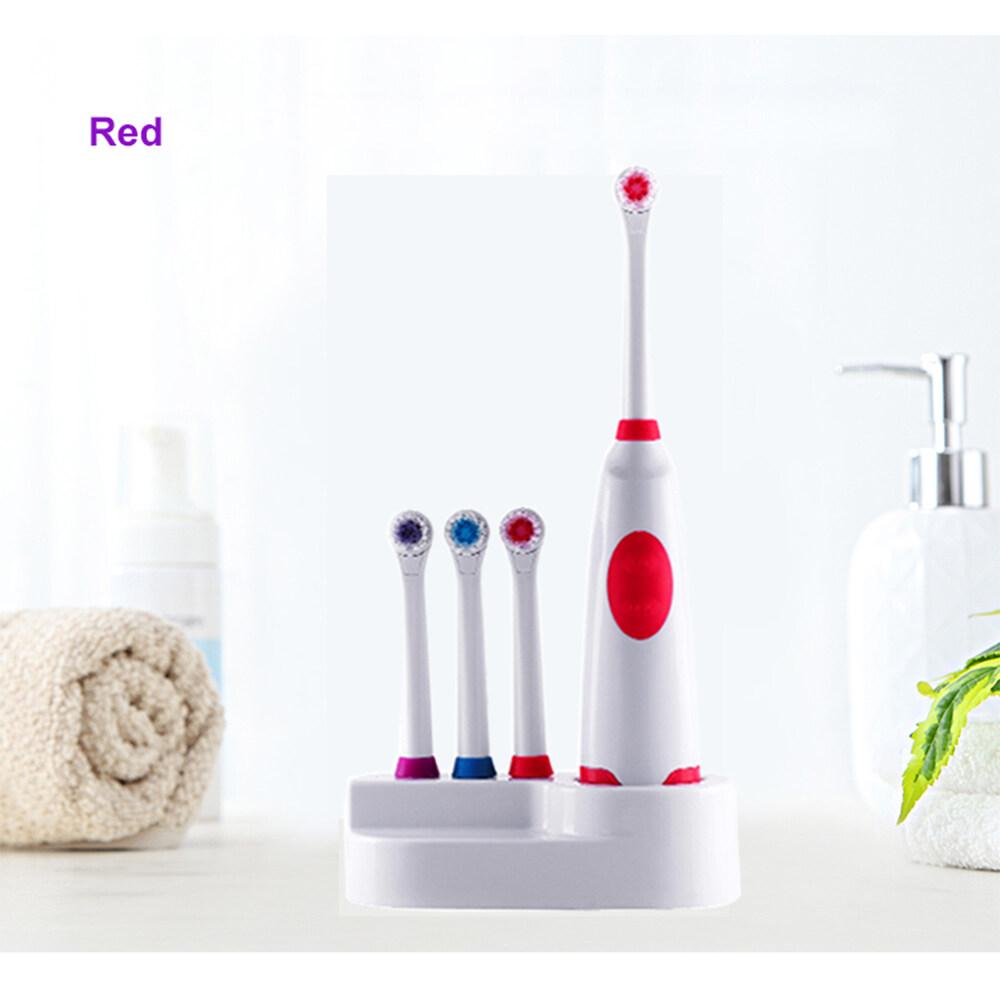 แปรงสีฟันไฟฟ้า รอยยิ้มขาวสดใสใน 1 สัปดาห์ มุกดาหาร แปรงสีฟันไฟฟ้าแบตเตอรี่รถยนต์คุณภาพสูงTravel Rotary Toothbrush Rotation Battery Electric Toothbrush 4 pcs Replacement Soft Brush Head Revolving Teeth Electric Brush For Family Oral Hygiene