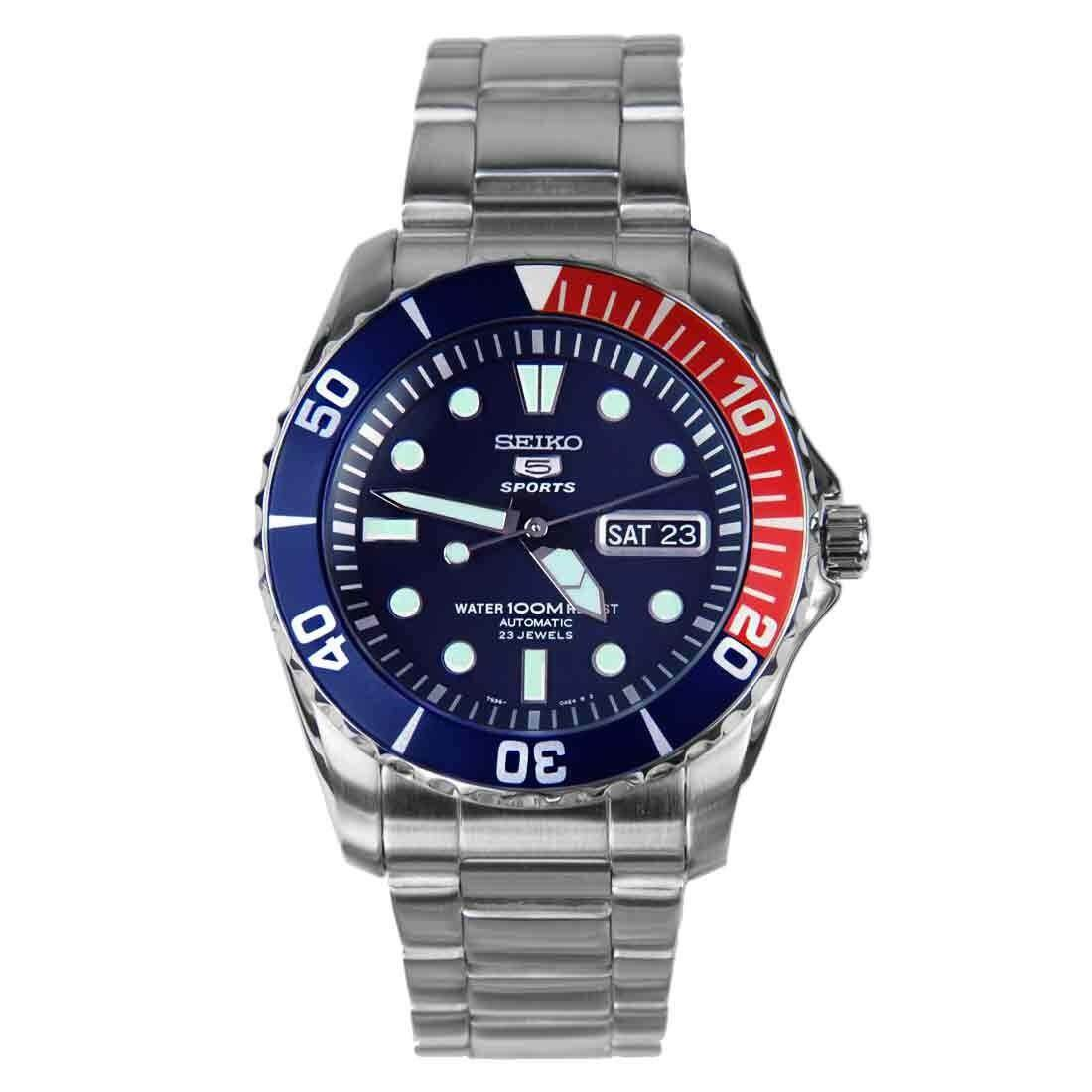 สอนใช้งาน  เพชรบุรี Karnvera Shop Seiko 5 นาฬิกาข้อมือผู้ชาย Blue Dial Stainless Steel Automatic  SNZF15K1