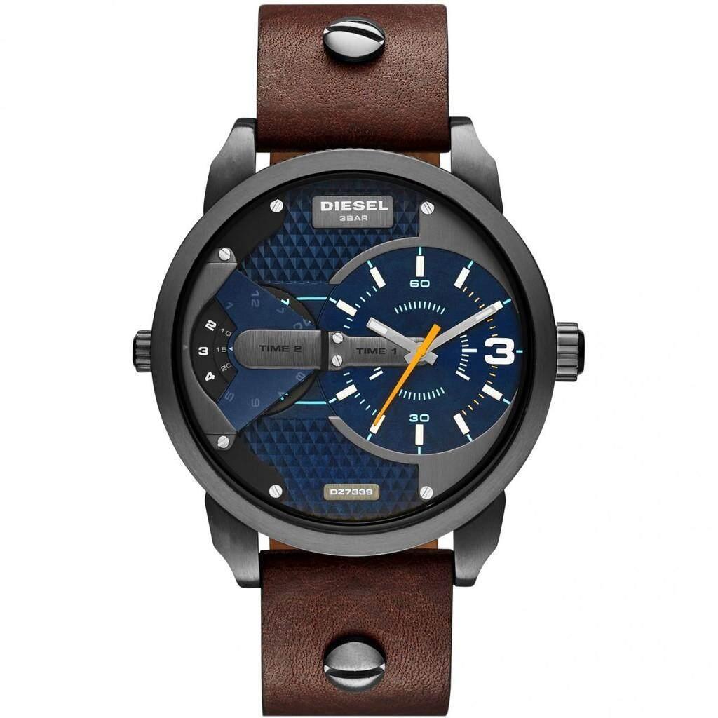 ราชบุรี ดีเซล DZ7339 ผู้ชาย MINI Daddy Analog Display นาฬิกาควอตซ์นาฬิกาข้อมือสีน้ำตาล