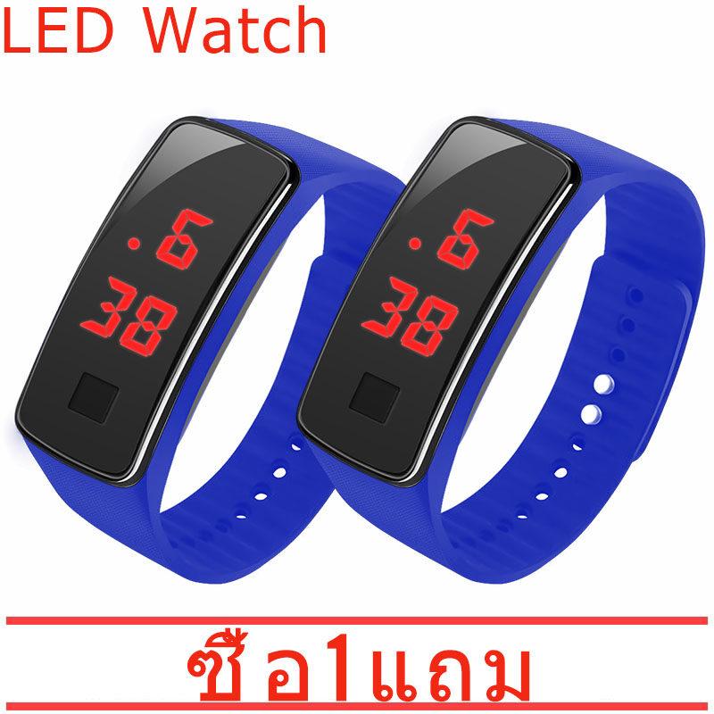【ซื้อ 1 แถม 1】นาฬิกาสปอร์ตข้อมือ LED ดิจิตอล