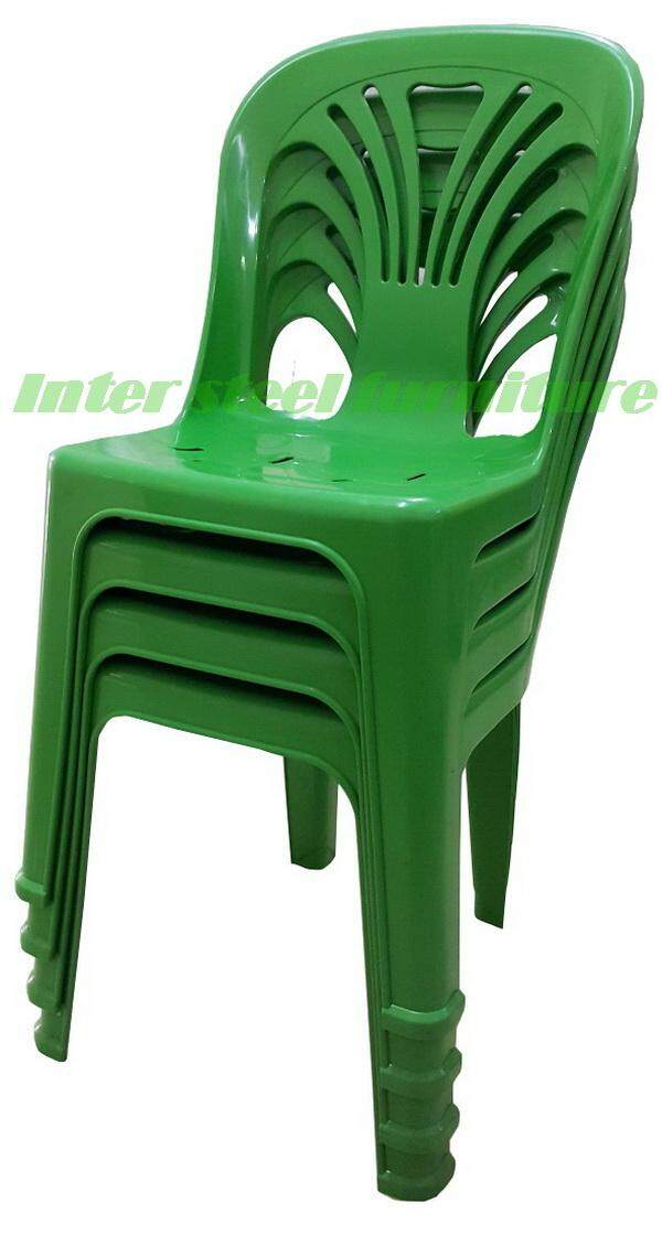 เช่าเก้าอี้ โคราช Inter Steel เก้าอี้พลาสติก มีพนักพิง รุ่นหลังW แพ็ค4ตัว (สีเขียว)