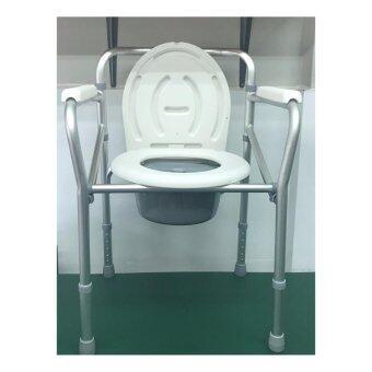 1 X Triple Y เก้าอี้นั่งถ่ายอลุมิเนียม แบบพับได้ ขนาดพกพา (สีขาว/เทา)