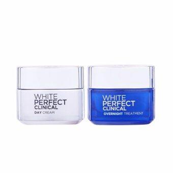 ลอรีอัล ปารีส ไวท์ เพอร์เฟ็กต์ คลินิคอล เดย์ครีม เอสพีเอฟ 19 PA+++ 50 มล. และ ไวท์ เพอร์เฟ็คท์ คลีนิคอล โอเวอร์ไนท์ ทรีทเมนท์ 50 มล. L'Oreal Paris White Perfect Clinical Day Cream 50 ml. and White Perfect Clinical Overnight Treatment 50 ml.