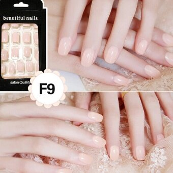 24Pcs French Acrylic False Fake Nail Art Fingernail Full Tips LightFlesh - intl