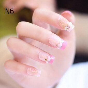 24Pcs Wedding 3D False Artificial Fake Nails Tips FASHION PearlFinger Gril Colour6 - intl