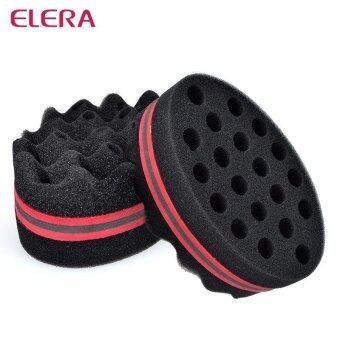 ราคา 2pcs Oval Double Sided Flat Large Hole Wavy Small Hole Magic Twist Hair Brush Sponge Afro Curly Weave Dreads Sponge Brush - intl