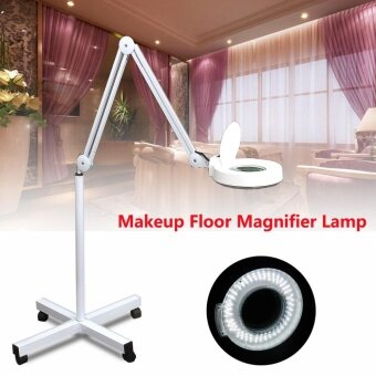 5x Rolling Makeup Floor Stand Magnifying Lamp Glass Facial Jewelry Adjustable AC180-240V UK - intl