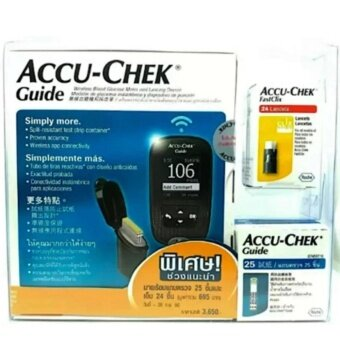 Accu-Chek Guide เครื่องตรวจน้ำตาลในเลือดแบบไร้สายและอุปกรณ์เจาะเลือด (แถมฟรี แถบตรวจน้ำตาล 25 ชิ้น + เข็มเจาะเลือด 24 ชิ้น มูลค่า695.-)