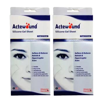 Actewound Silicone Gel Sheet แผ่นแปะซิลิโคนลดรอยแผลเป็น ขนาด7 cmx15 cm 2 กล่อง