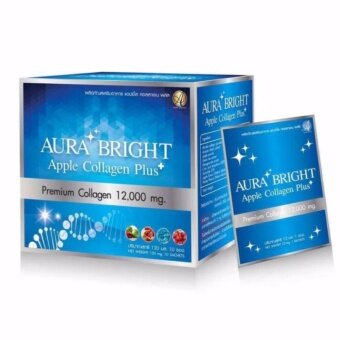Harga Aura Bright Apple Collagen Plus Premium Collagen 12,000 mg. กล่องละ 10 ซอง (1 กล่อง )