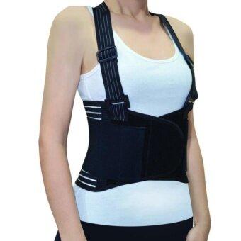 เข็มขัดพยุงหลัง พยุงเอว Back Support Belt บล็อคหลัง ใส่ยกของได้อุปกรณ์พยุงหลัง แก้ปวดหลัง ป้องกันบาดเจ็บ (Black) size-L