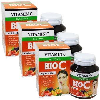 BIO C Vitamin Alpha+Zinc 1,500 mg. ไบโอ ซี วิตามิน ขนาด 30 เม็ด (3 กล่อง) ...