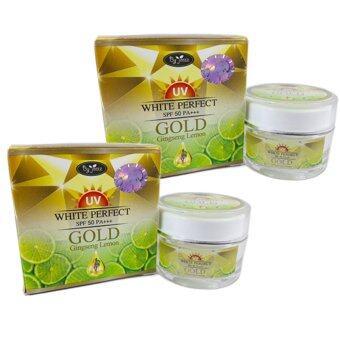 By Jeezz Gold Ginseng Lemon White Perfect ครีมกันแดด โกลด์ จินเส็ง เลม่อนไวท์ เฟอร์เฟค SPF50PA+++ ขนาด 10 กรัม (2 กล่อง)