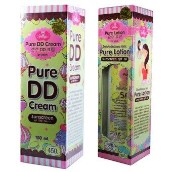 by jellys Pure DD Creamเพียว ดีดีครีมเจลลี่ หัวเชื้อผิวขาว แพคคู่Pure Lotion Sunscreen SPF60โลชั่นเจลลี่ หัวเชื้อผิวขาว(1เซ็ท)