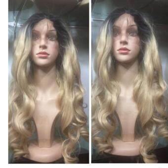 Cala wigs วิกผมติดกาว(หนีบได้สระได้#-สีดำทอง)