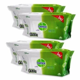 2560 Dettol Anti Bacteria Wet Wipe ผ้าเปียกเช็ดทำความสะอาดผิว แอนตี้แบคทีเรีย 50 แผ่น ( 4 แพ็ค ) (Green)