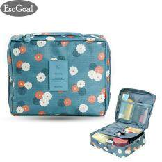 EsoGoal Portable Travel Makeup Cosmetic Bag Waterproof Handing Travel Kit Toiletry Make up Bag Bathroom Organizer Carry on Case (Blue Flower) - intl