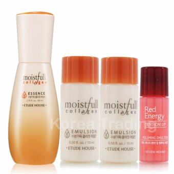 Etude House Moistfull Collagen Essence 80ml + Moistfull Collagenโลชั่น 15ml 2 ขวด + Red Energy โลชั่น 5ml 1ขวด