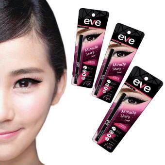 อายไลเนอร์หัวเล็ก eyeliner ดินสอเขียนขอบตาเมจิก สีดำ กันน้ำ กันเหงื่อ ไม่เลอะ ไม่เปื้อน สงกรานต์ EVE sharp Eyeliner อีฟ สีดำ Black 3แท่ง