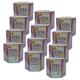 FITA White Aura Sunscreen Cream ไฟต้า ครีมกันแดดไวท์ออร่า เนื้อมูส บางเบา ป้องกันรังสี UVA/UVB SPF60PA+++ ขนาด 20g. (12 กระปุก)