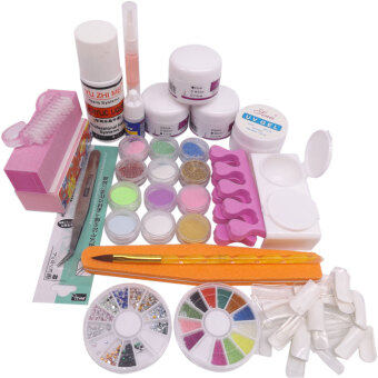 Full Acrylic Powder Liquid French Nail Art Brush Glue UV Gel TipTool Kit Set - Intl