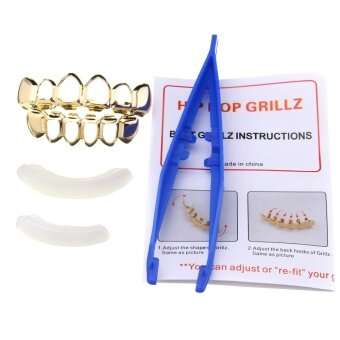 Gold Silver Plated Custom Fit Hip Hop Teeth Grillz Top Bottom Grills Teeth Mouth Gold - intl