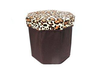 HHsociety เก้าอี้สตูล 8 เหลี่ยม ลายเสือดาว - สีดำ