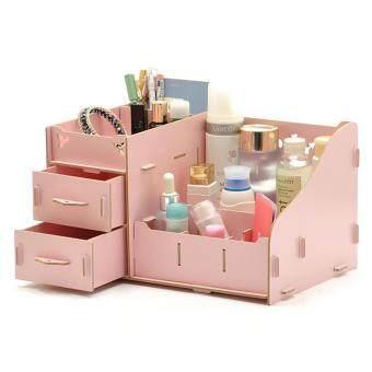 DIY Wooden Cosmetic Box (WD03 สีชมพู) กล่องเก็บเครื่องสำอาง เครื่องประดับ