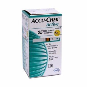 AccuChek Active Test Strips แถบตรวจระดับน้ำตาล แอคทีฟ (25 ชิ้น/กล่อง) 1 กล่อง