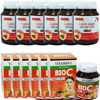 Shining L-Gluta Armoni & Bio C Vitamin C แอล-กลูต้า อาโมนิ สูตรใหม่เพิ่ม Red Fruit แพคคู่ ขาว x 2 กับไบโอซี วิตามินซี อาหารเสริมเร่งผิวขาว สูตรใหม่ ขาวใสมากกว่าเดิม บรรจุ 30 เม็ด (อย่างละ 6 กระปุก)
