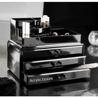 Asia Set กล่องอะคริลิคจัดเก็บเครื่องสำอางค์ 3 ชั้น สีดำ Black Collection