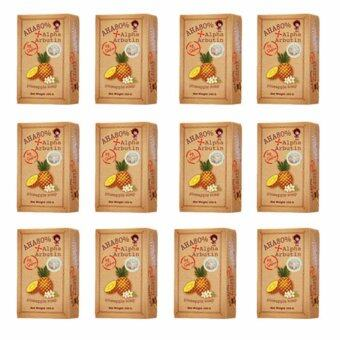 AHA 80% Alpha Arbutin Pineapple Soap Skin สบู่ระเบิดความขาว สูตรสับปะรด 100 กรัม by Sabu (12ก้อน)
