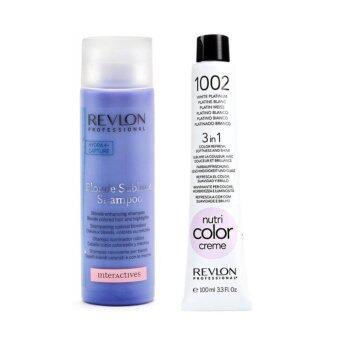 Revlon Blonde sublime shampoo 250ml + Revlon nutri color creme 1002 ขนาด 100ml แชมพูและแว็กซ์เคลือบสีเทาโดยเฉพาะ หรือสีหม่น คงสีให้สวยสดใสเสมอ