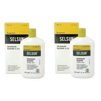 Selsun เซลซั่นแชมพูยา กำจัดรังแคและกลากเกลื้อนที่ผิวหนัง 120ml.แพค 2 ขวด
