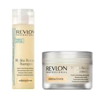 Revlon Hydra Rescue shampoo 250ml +Revlon Hydra Capture treatment mark 200 ml ชุดแชมพูพร้อมมาร์คเข้มข้น บำรุงล้ำลึกสำหรับผมแห้งเสียมาก