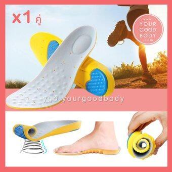 RENS แผ่นรองเท้าเพื่อสุขภาพ แผ่นรองเท้ากันกระแทก Memory foam - Absorption Super Soft Insoles (สีเทาเหลือง) Size 34-37
