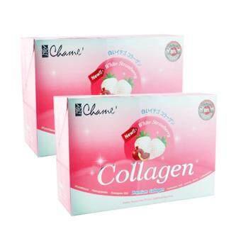 Chame Collagen Premium Collagen White Strawberry 35000mg เพื่อผิวขาวกระจ่างใส 2 กล่อง