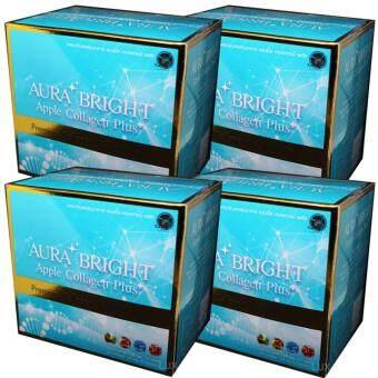 Aura Bright Apple Collagen Plus ออร่าไบรท์ แอปเปิ้ลคอลลาเจน เพื่อผิวเนียนใส 12,000mg. (4 กล่อง)