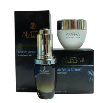 ครีมรักษาสิวเซรั่มและครีมว่านหางจระเข้ Amera Active Acne Serum and Amera Aloe Vera Cream