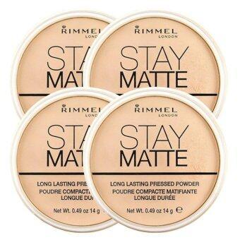 Rimmel Stay Matte Pressed Powder แป้งฝุ่นอัดแข็งเนื้อบางเบา #001Transparent 14g (4 ตลับ)