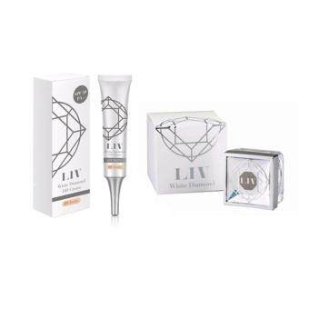 Liv White Diamond Cream ลิฟ ไวท์ ไดมอนด์ ครีม ครีมดีที่วิกกี้แนะนำ บำรุงผิวหน้าเนื้อครีมเข้มข้น + LIV White Diamond DD ครีม SPF50 รองพื้นกันแดดเพชรแท้ วิกกี้ #02 beige สำหรับผิวสองสี