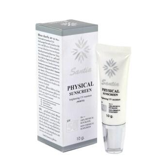 SANTIA Physical Sunscreen SPF 50 10g. สีขาว ครีมกันแดด สำหรับผิวแพ้ง่าย
