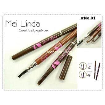 Mei Linda Sweet Lady Eyebrow 0.4 g.ดินสอเขียนคิ้วกันน้ำ 01 น้ำตาลอ่อน (1 แท่ง)