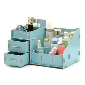 DIY Wooden Cosmetic Box (WD03 สีฟ้า) กล่องเก็บเครื่องสำอาง เครื่องประดับ