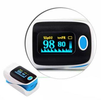 ชีพจรออกซิเจนอิ่มตัวปลายนิ้วเลือด Oximeter SPO2 PR จอมาตรวัดออกซิเจนสีน้ำเงิน