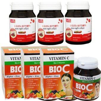 Shining L-Gluta Armoni & Bio C Vitamin C แอล-กลูต้า อาโมนิ สูตรใหม่เพิ่ม Red Fruit แพคคู่ ขาว x 2 กับไบโอซี วิตามินซี อาหารเสริมเร่งผิวขาว สูตรใหม่ ขาวใสมากกว่าเดิม บรรจุ 30 เม็ด (อย่างละ 3 กระปุก)