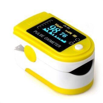 อ้อความดันออกซิเจนปลายนิ้วไปจับหน้าจอมาตรวัดออกซิเจน Oximeter สีเหลือง